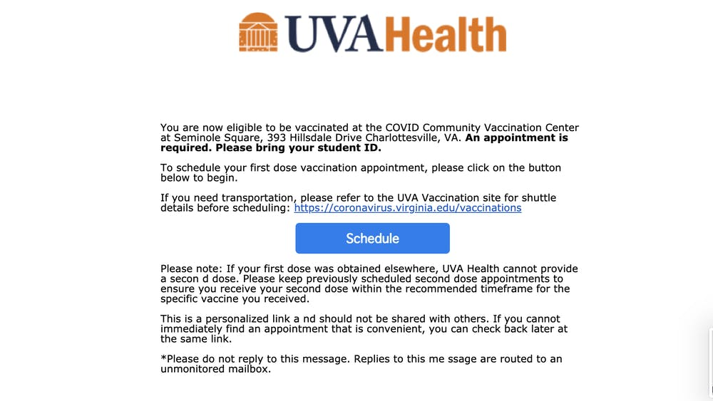 U.Va. Health began to send University students appointment invitations Monday.