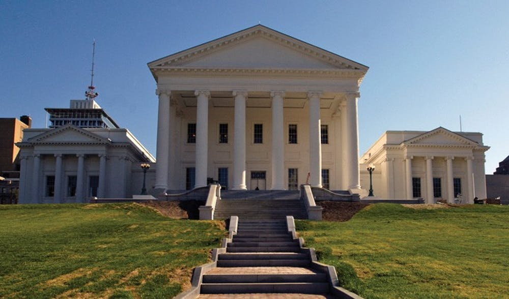 The south portico of the Virginia State Capitol, in Richmond, VA, with the Senate, left, and House of Delegates (right) chambers. Photo taken Monday, April 23, 2007.