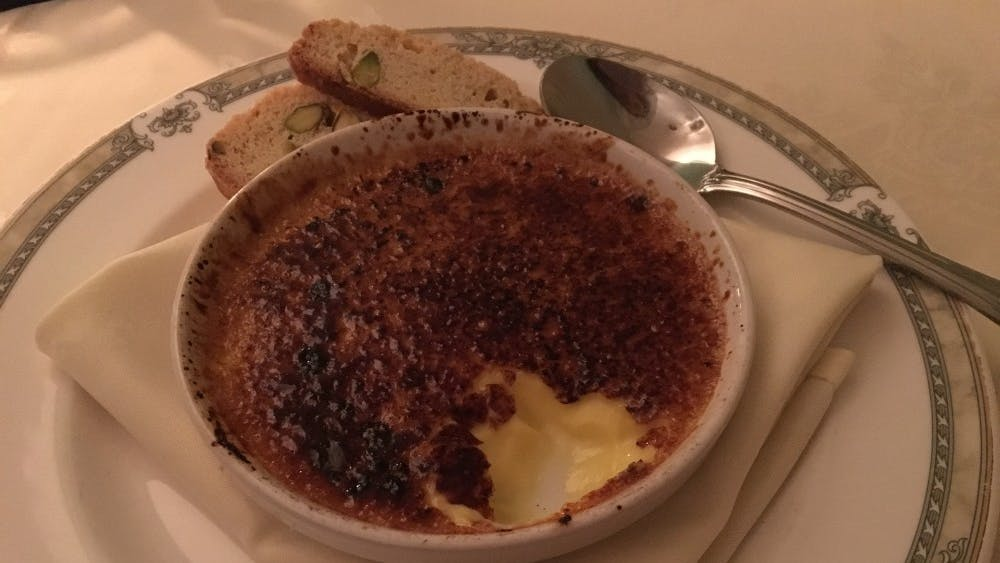 The Ivy Inn's regularly changing dessert menu usually includes classics like the crème brûlée.