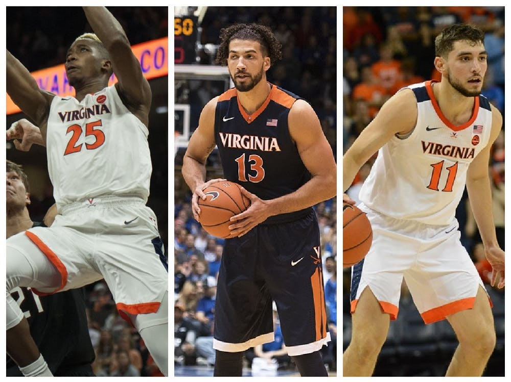 <p>Mamadi Diakite (left), Anthony Gill (center) and Ty Jerome (right) all hope to excel on new NBA teams during the 2020-21 season.&nbsp;</p>