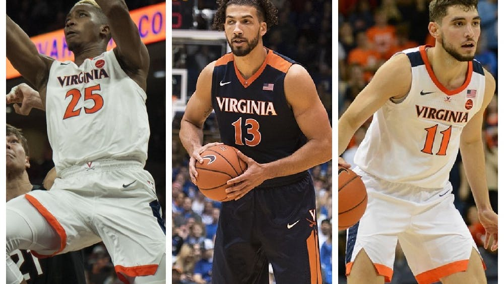 Mamadi Diakite (left), Anthony Gill (center) and Ty Jerome (right) all hope to excel on new NBA teams during the 2020-21 season.