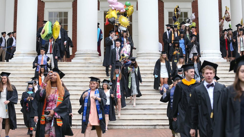 The ceremony began with the traditional academic procession from the Lawn to Scott Stadium.