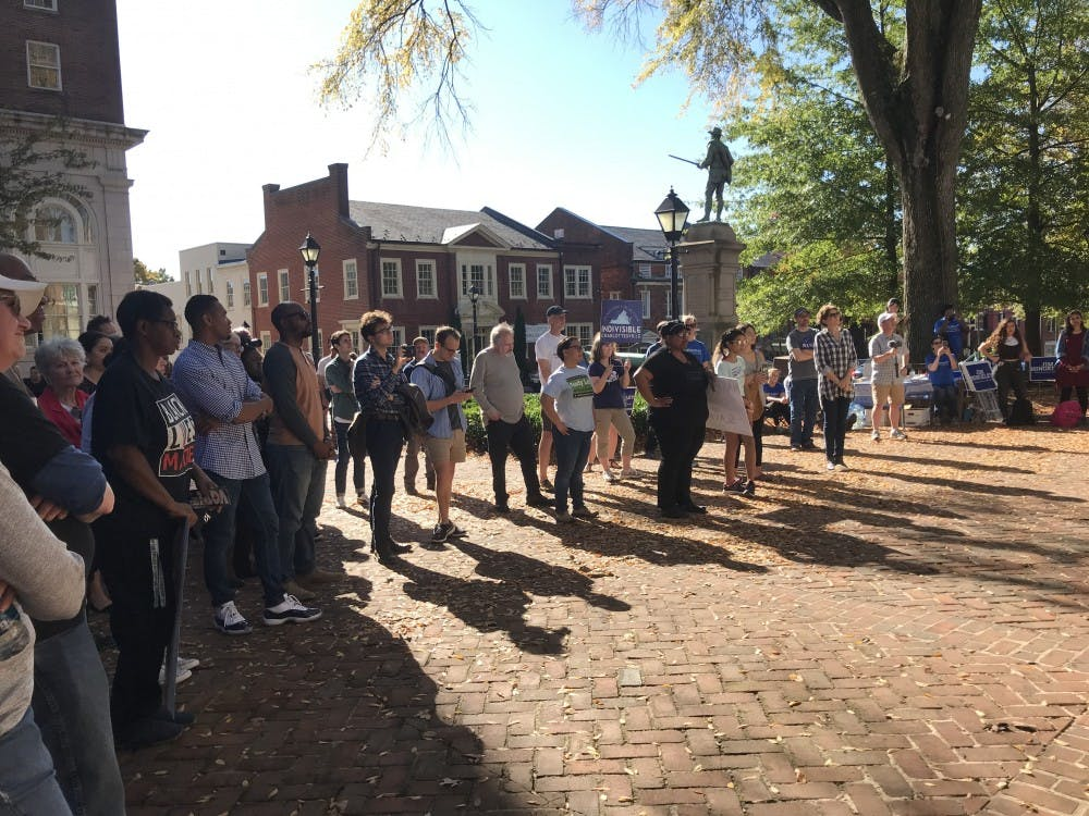 Members of the community gathered outside the Albemarle Courthouse, where Hingeley and others spoke about criminal justice reform.