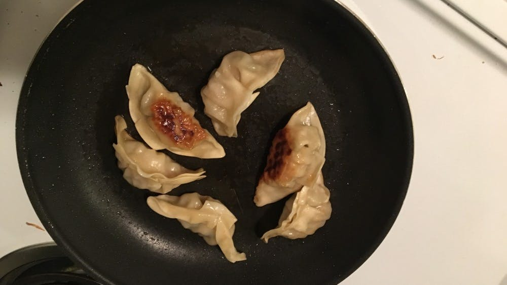 Pan fried potstickers often turn out better than those that are microwaved.
