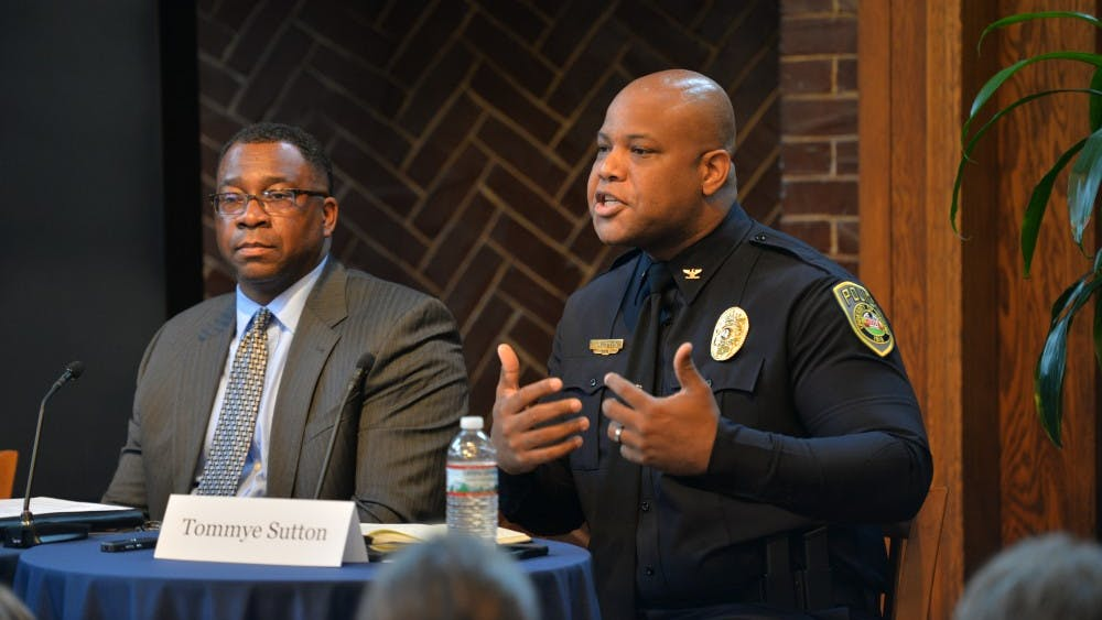 Recently sworn-in police chief Tommye Sutton spoke at the Constitution Day panel.