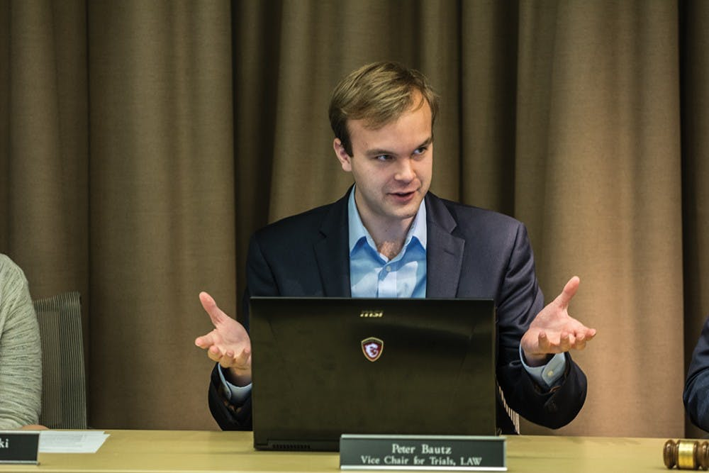 <p>Law student and&nbsp;Vice Chair for Trials Peter Bautz presented the constitutional changes in their Nov. 13 meeting.&nbsp;</p>