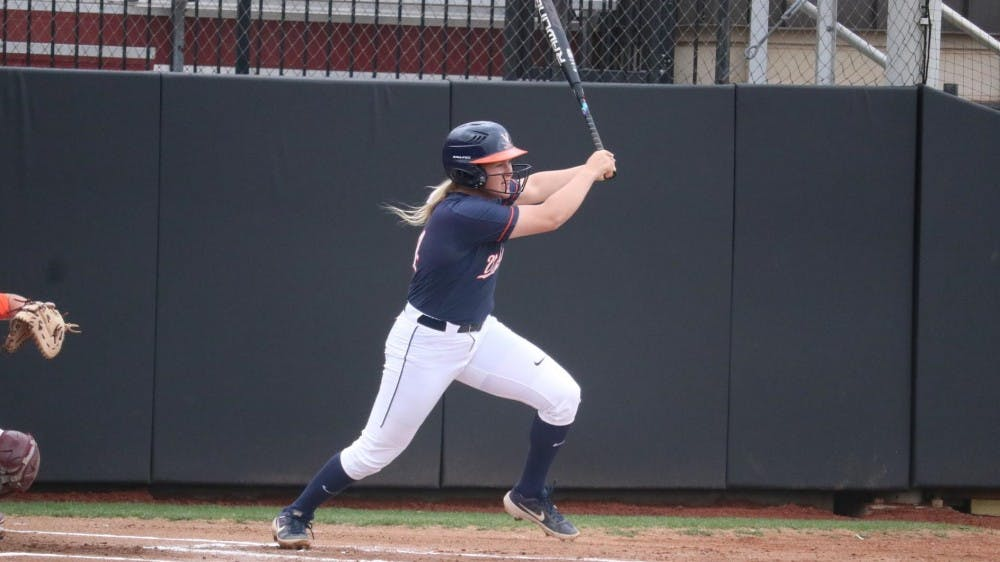 <p>Senior Lacy Smith went 2-for-4 in Virginia's narrow loss in the first game of the series.</p>