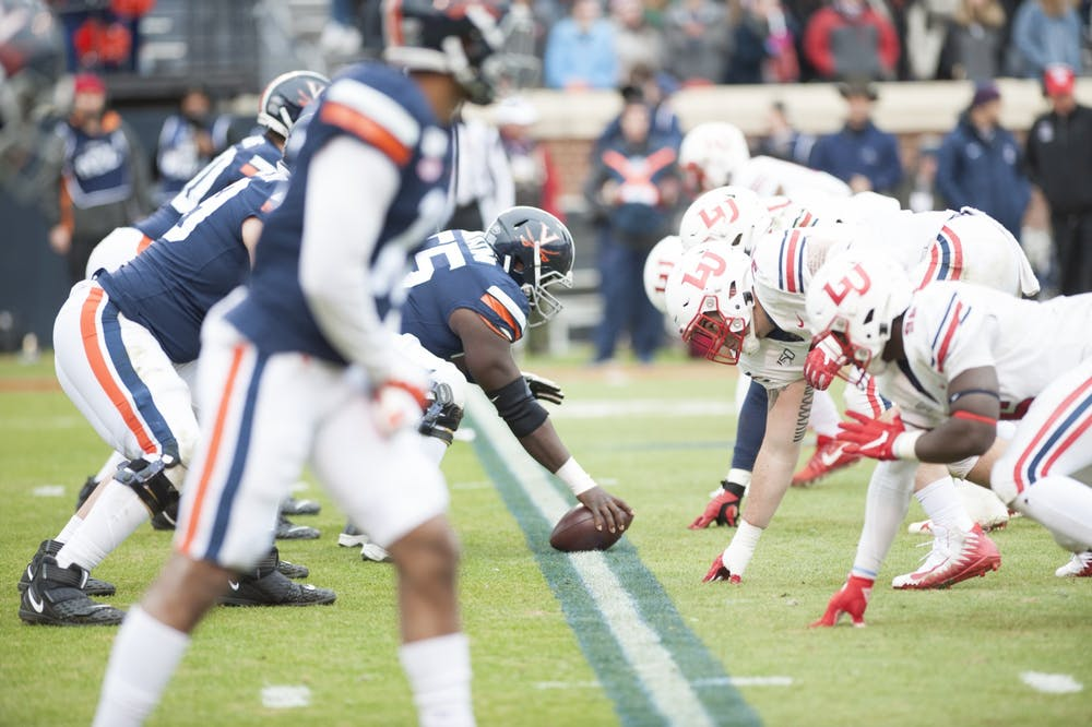 <p>The offensive line's performance will be critical if Virginia wants to beat Virginia Tech.</p>