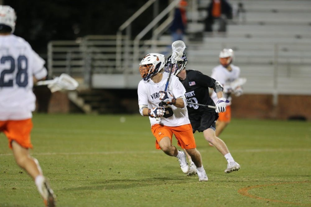 <p>Senior midfielder and captain Dox Aitken had a solid game for the Cavaliers, scoring two goals and securing two ground balls.&nbsp;</p>