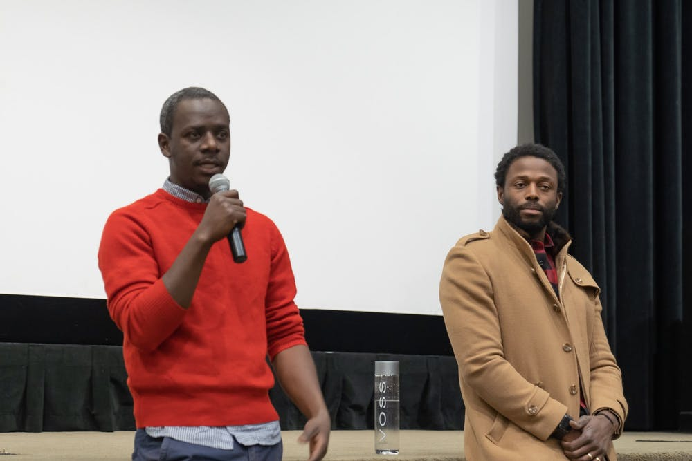 Director-writer Mamadou Dia and producer Maba Ba answer questions in Newcomb Theater