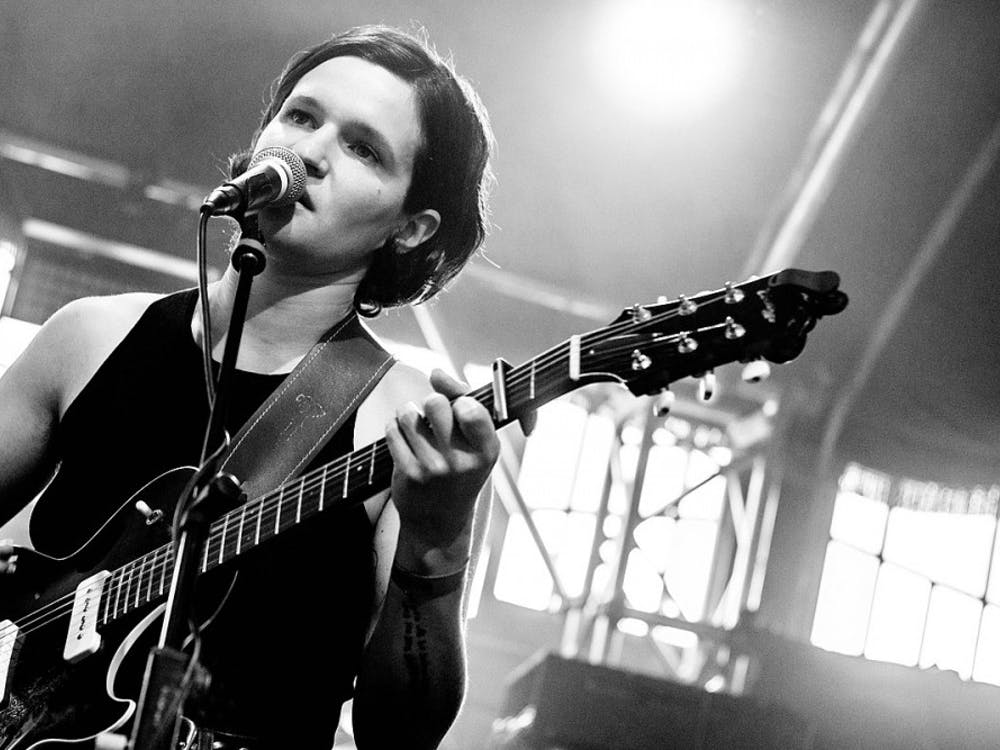 Lead vocalist of Big Thief Adrianne Lenker performing with the band at Haldern Pop Festival in 2018.