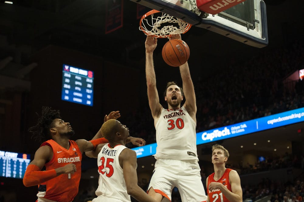 <p>Junior forward Jay Huff recorded a double-double in the game, leading the team with 16 points and snagging 10 rebounds.&nbsp;</p>