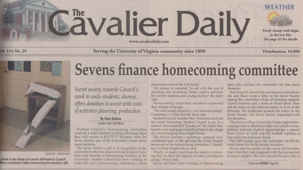 The Cavalier Daily reported thatthe Homecoming Committeereceived a seven-shaped piñata containing a monetary donation in October2003.