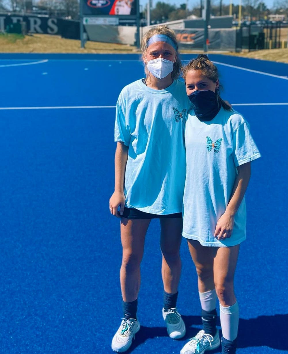 <p>Junior and senior field hockey players Adele Iacobucci and Greer Gill helped start the Virginia chapter of Morgan's Message this past March.&nbsp;</p>