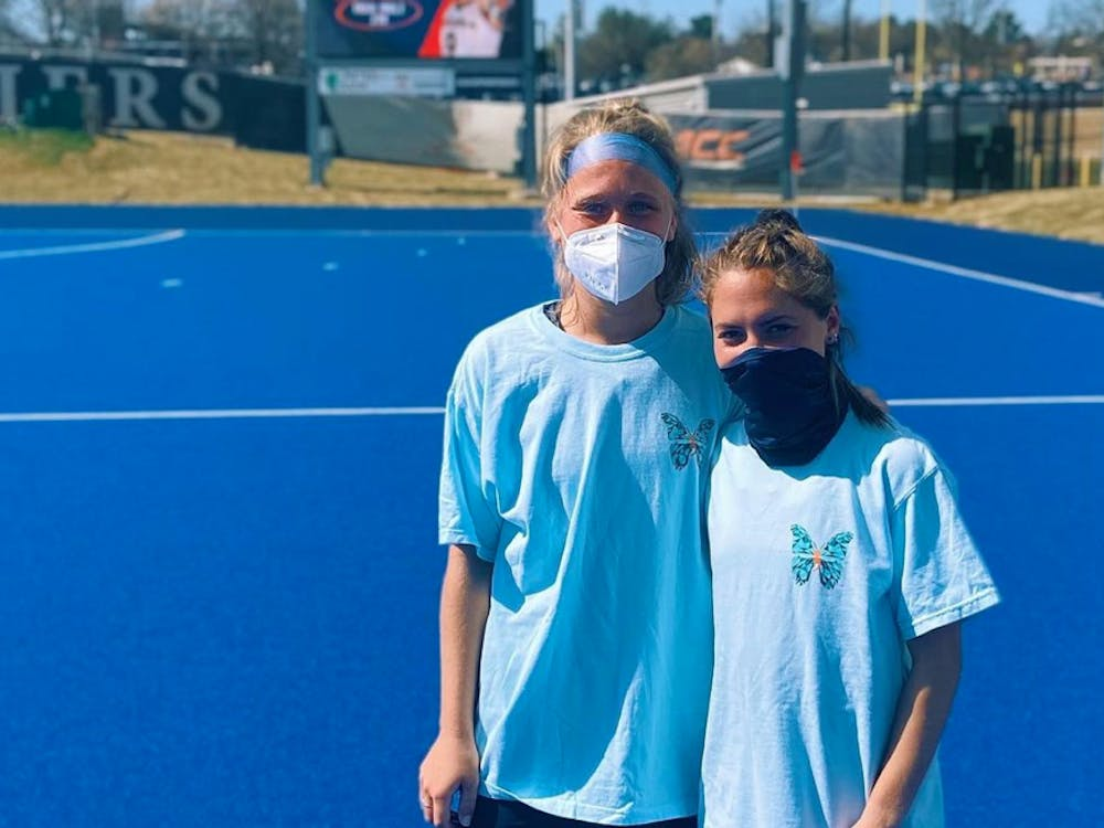Junior and senior field hockey players Adele Iacobucci and Greer Gill helped start the Virginia chapter of Morgan's Message this past March.
