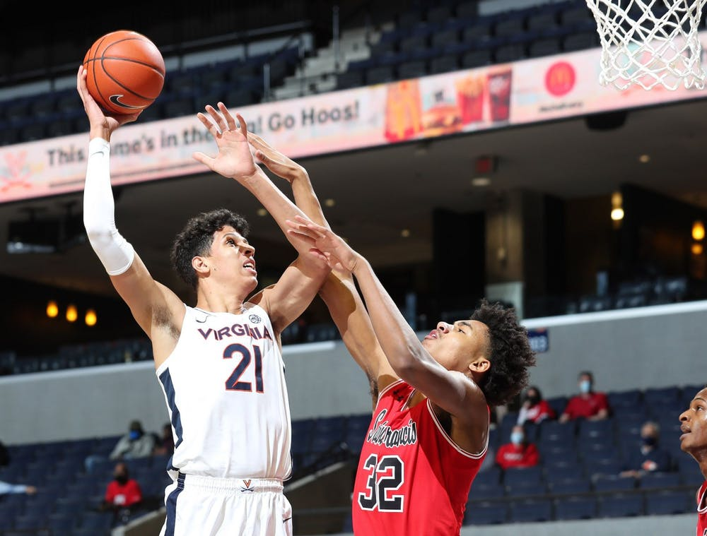 <p>Redshirt freshman forward Kadin Shedrick had an impressive game against Saint Francis, posting 12 points and eight rebounds in 18 minutes of action.</p>