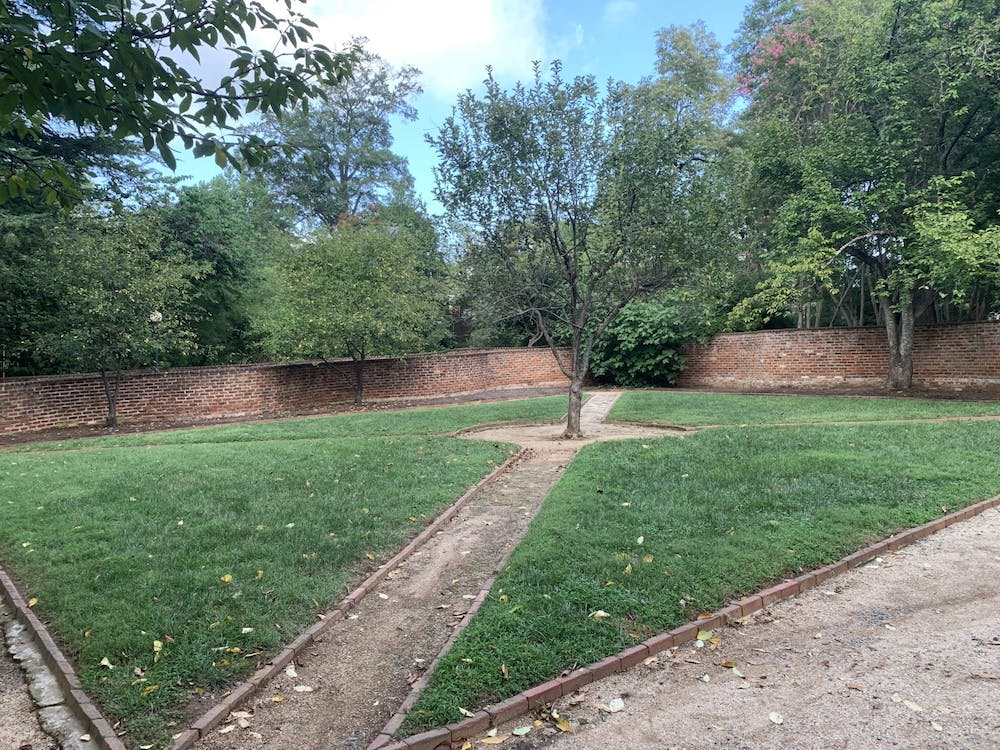 <p>The gardens were designed initially to be multipurpose: divided in two, one half was possibly dedicated to the public whereas the half closest to the pavilion itself was generally reserved for a small kitchen garden bearing small herbs and other plants as well as a number of smaller, likely wooden structures.</p>