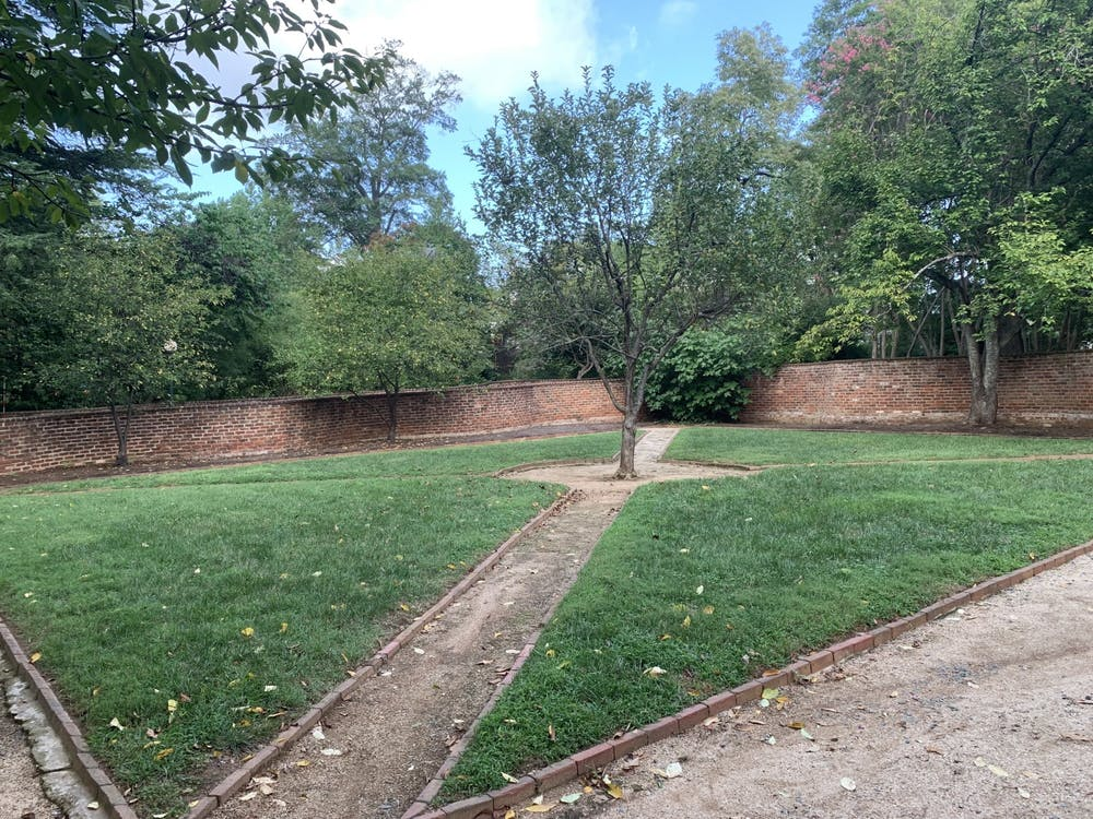 The gardens were designed initially to be multipurpose: divided in two, one half was possibly dedicated to the public whereas the half closest to the pavilion itself was generally reserved for a small kitchen garden bearing small herbs and other plants as well as a number of smaller, likely wooden structures.