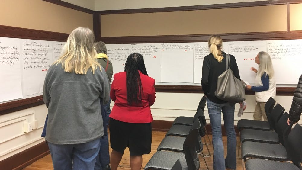 Each of the four work groups had a designated area within the space where they hung large sheets of poster paper detailing each of the ideas for action the study groups developed.