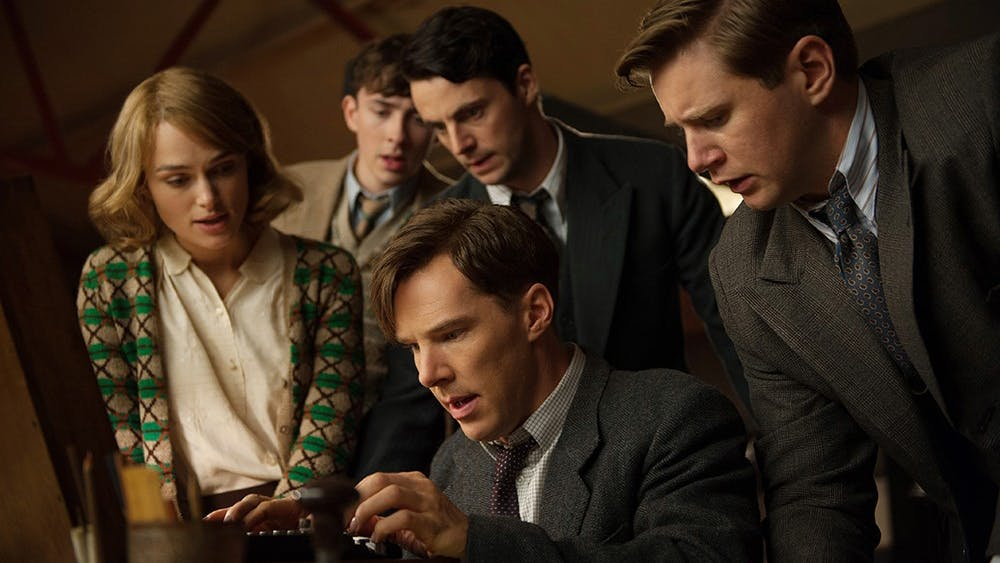 (L-R) Keira Knightley, Matthew Beard, Matthew Goode, Benedict Cumberbatch, and Allen Leech star in THE IMITATION GAME.