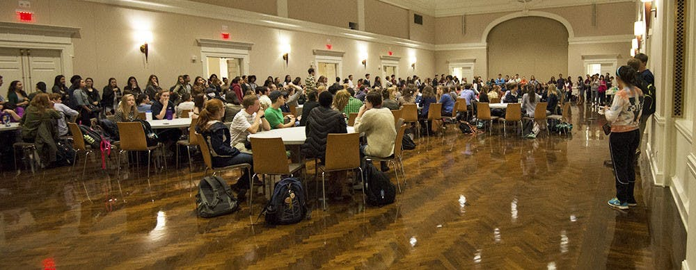 <p>Students participated in small round-table discussions and heard presentations by student leaders.</p>