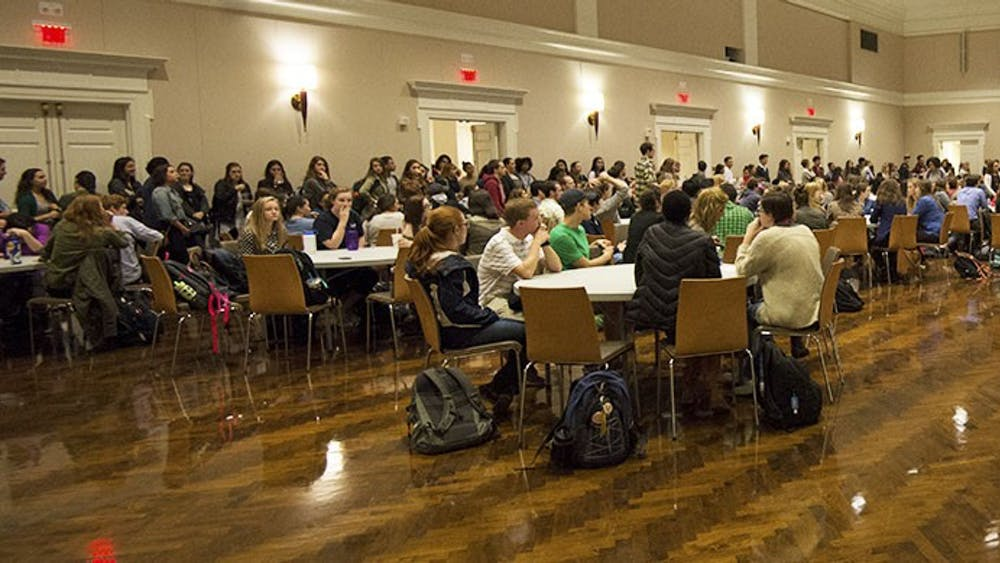 Students participated in small round-table discussions and heard presentations by student leaders.