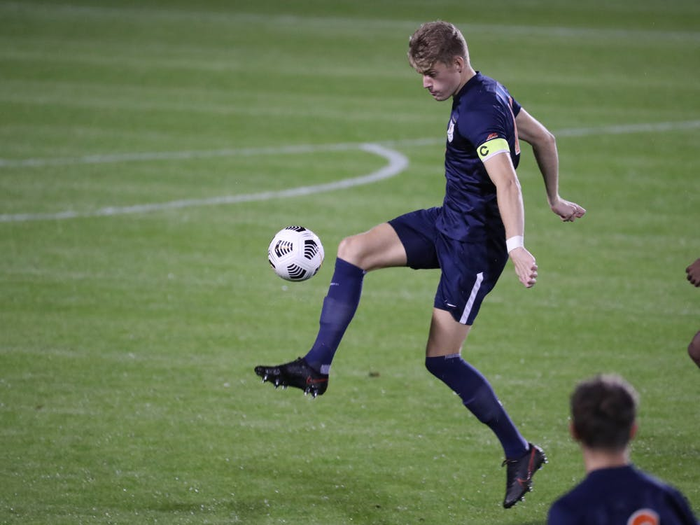 Captain and sophomore defender Andreas Ueland will have his hands full against a potent Virginia Tech attack.