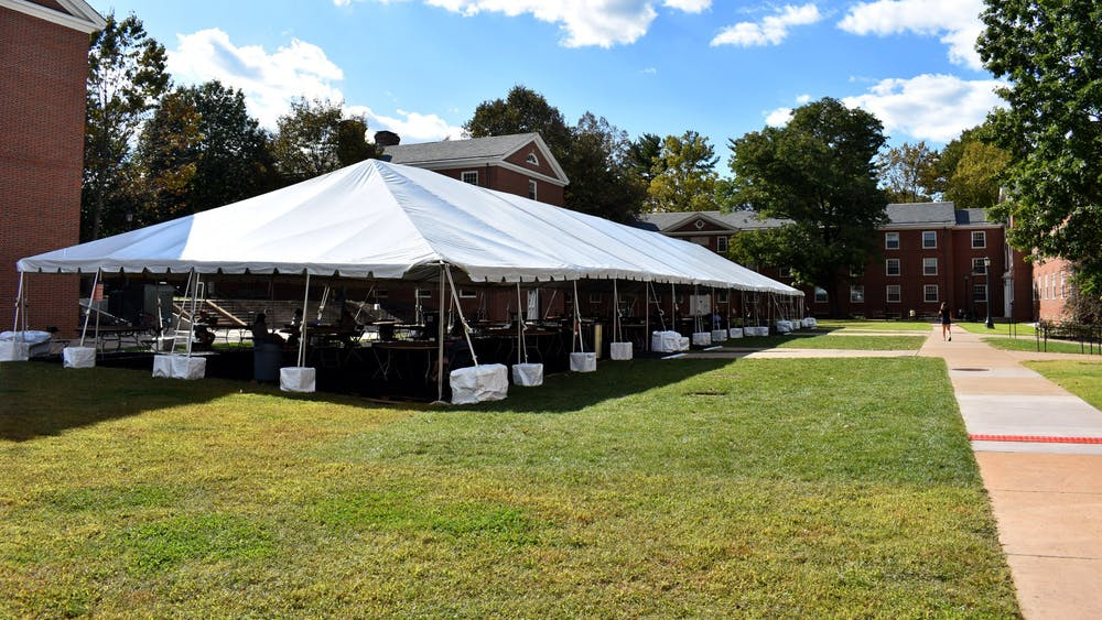The University has constructed nine tents throughout Grounds at various locations, costing approximately $650,000.