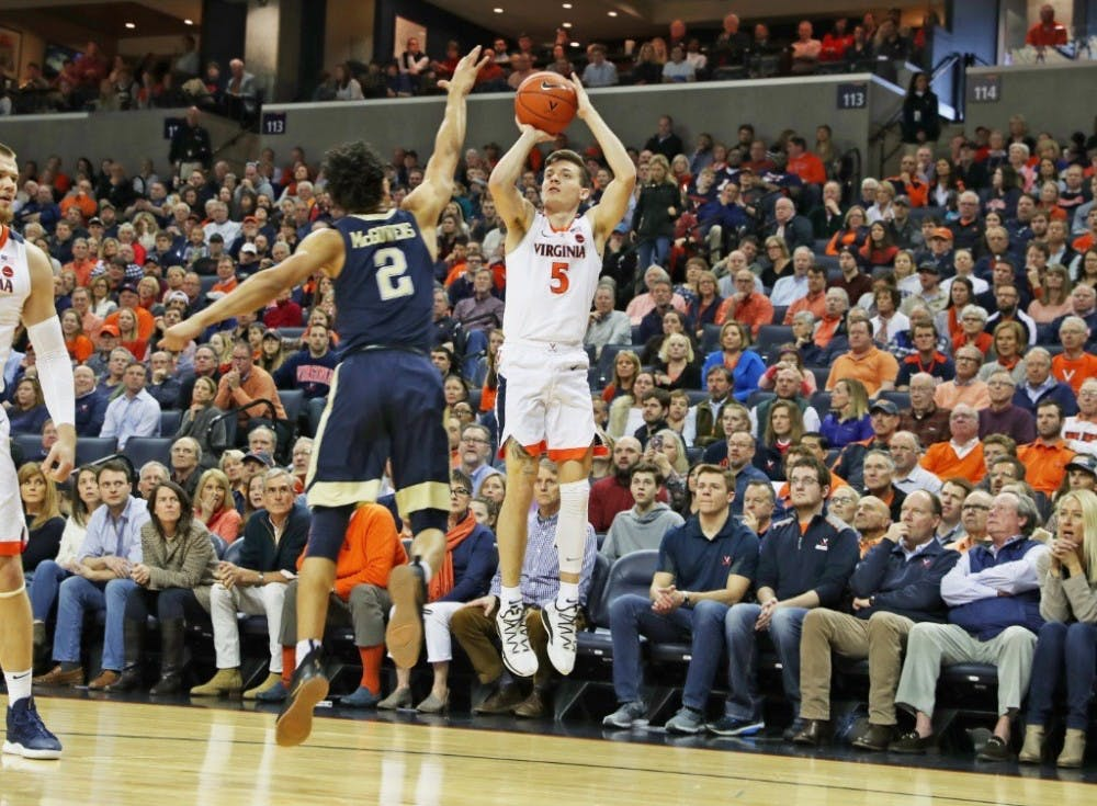 <p>Kyle Guy shot 8-10 from three-point range against Syracuse, and had a team-high 7 rebounds.</p>