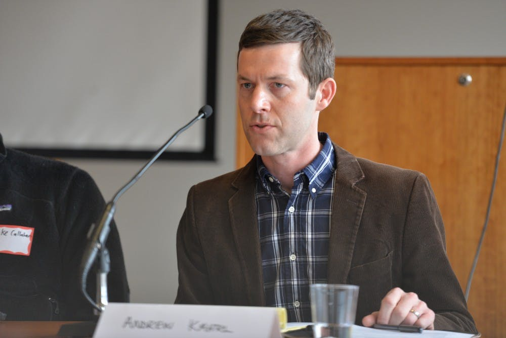 <p>Andrew Kahrl, an associate professor of history and African-American studies at the University, speaks at the conference Saturday.&nbsp;</p>