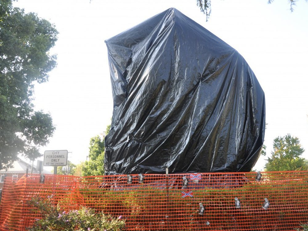 The statue's tarps have been taken down against the City's wishes by unknown actors numerous times since August, with the most recent removals occuring as recently as Wednesday.