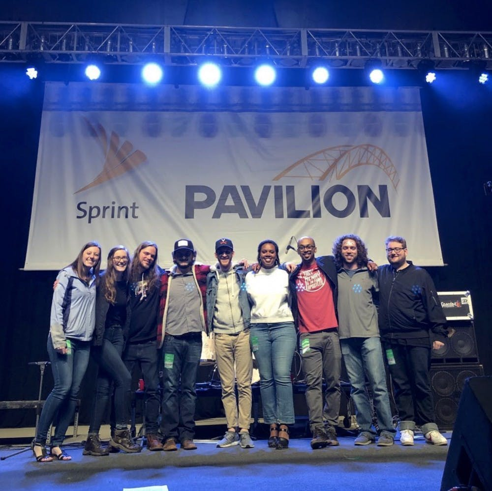 <p>Charlottesville-based band Free Union poses at the Sprint Pavilion. Audacity Brass Band, Surprise Attack and Free Union won the evening and will perform at the ROCKN' to LOCKN' Festival in Arrington in late August.&nbsp;</p>