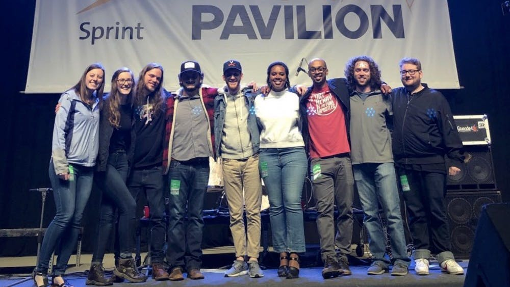 Charlottesville-based band Free Union poses at the Sprint Pavilion. Audacity Brass Band, Surprise Attack and Free Union won the evening and will perform at the ROCKN' to LOCKN' Festival in Arrington in late August.