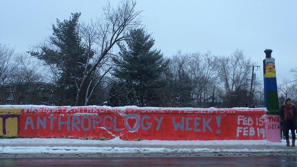 The Virginia Anthropology Society painted Beta Bridge to promote their weeklong event.
