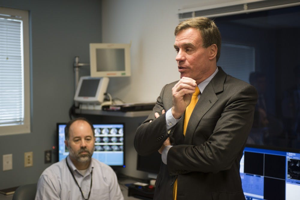 <p>Sen. Mark Warner (above) visited the University's Focused Ultrasound Center Wednesday morning while on a tour of the state. He is up for reelection this November.</p>