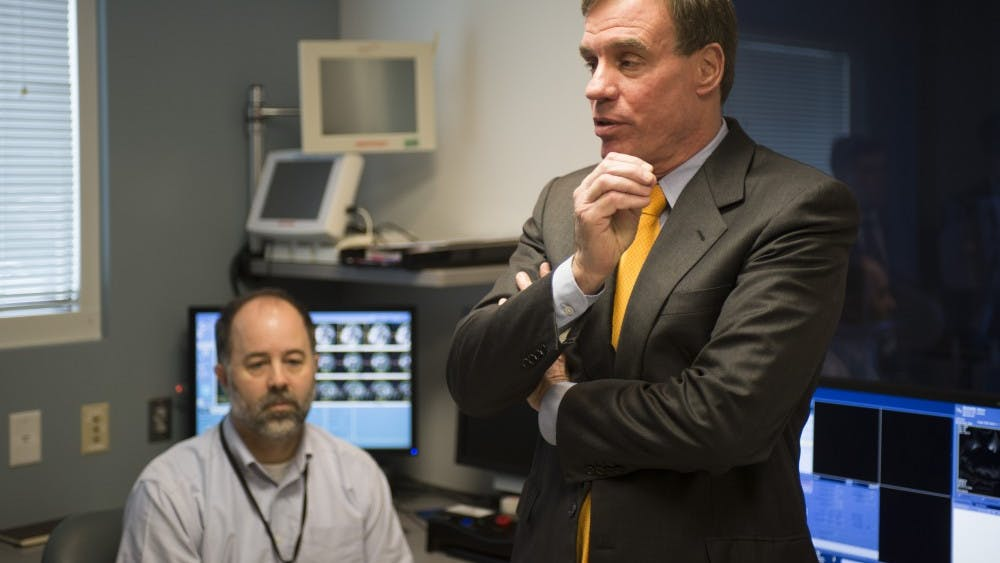Sen. Mark Warner (above) visited the University's Focused Ultrasound Center Wednesday morning while on a tour of the state. He is up for reelection this November.