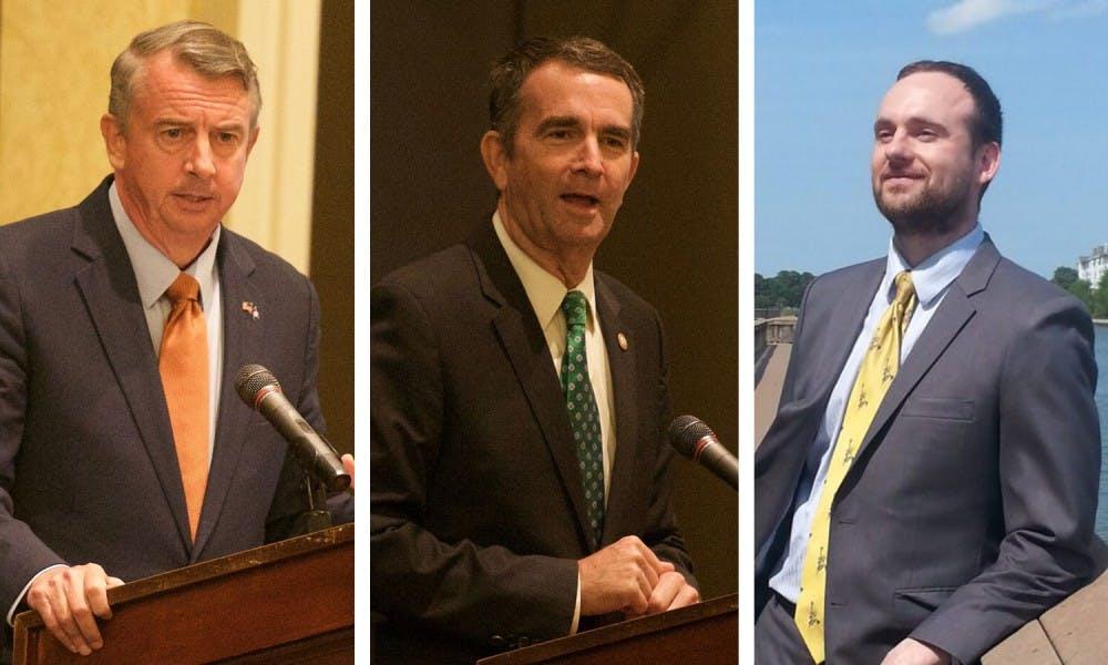 <p>Ed Gillespie (left), Ralph Northam (center), Cliff Hyra (right)</p>