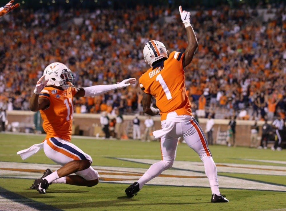 <p>Junior cornerback Nick Grant celebrates after he returns his first career interception for a touchdown against William &amp; Mary.</p>
