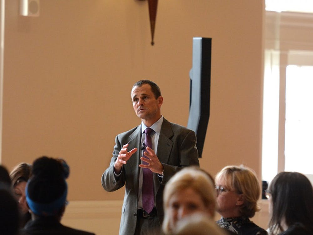 University President Jim Ryan speaks at the Ours To Shape event in Newcomb Hall Tuesday afternoon.