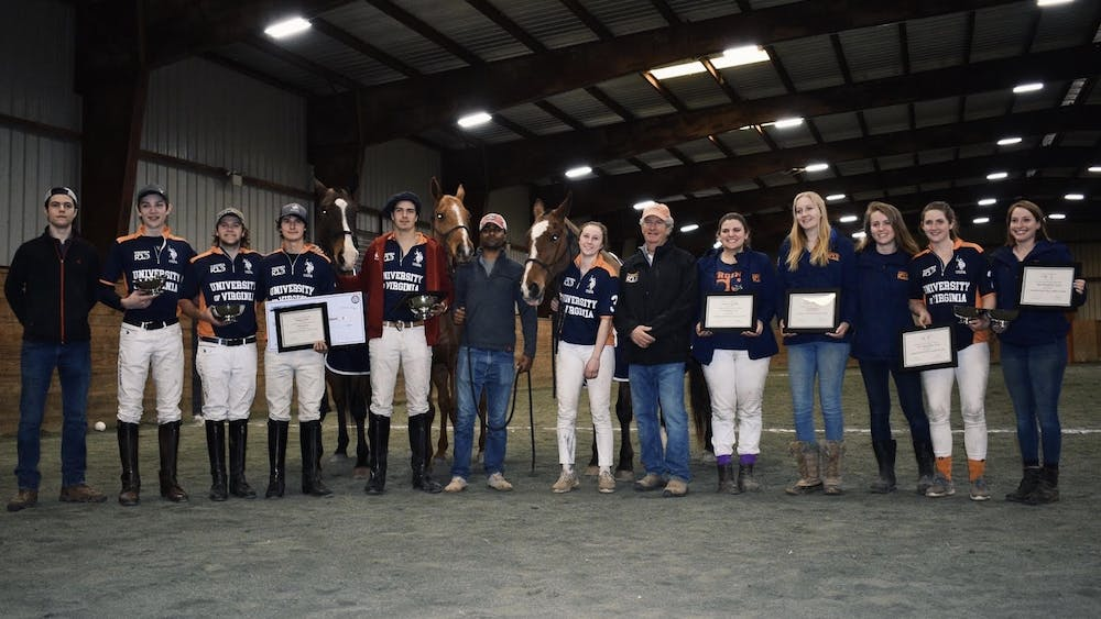 Members of Virgina Polo pose at the Southeastern Regionals with Best Playing Ponies Dumptruck, Viuda and Gaucha.