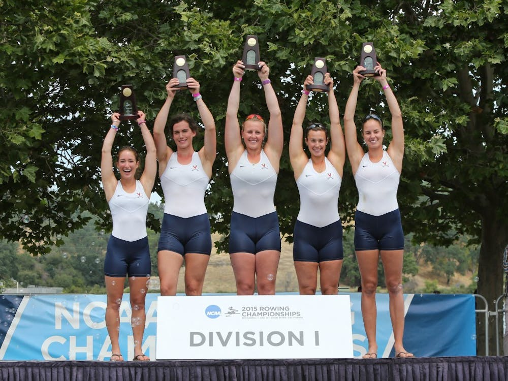 Virginia's Varsity Four edged Yale by 16 hundredths of a second for the NCAA title. Pictured, from left to right: senior coxswain Julia Roithmayr, senior stroke Maggie Bowman-Jones, sophomore three-seat Marijane Brennan, junior two-seat Hannah Solis-Cohen and sophomore bow Ellen Pate.