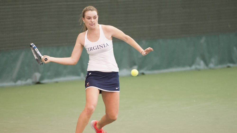 Freshman Cassie Mercer posted Virginia's lone win against the Bears after freshman Leolia JeanJean's code violation in the second set disqualified her at No. 4 singles.
