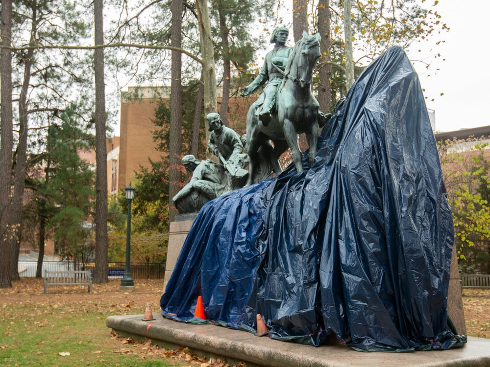 The George Rogers Clark statue was covered with black tarp following the incident.