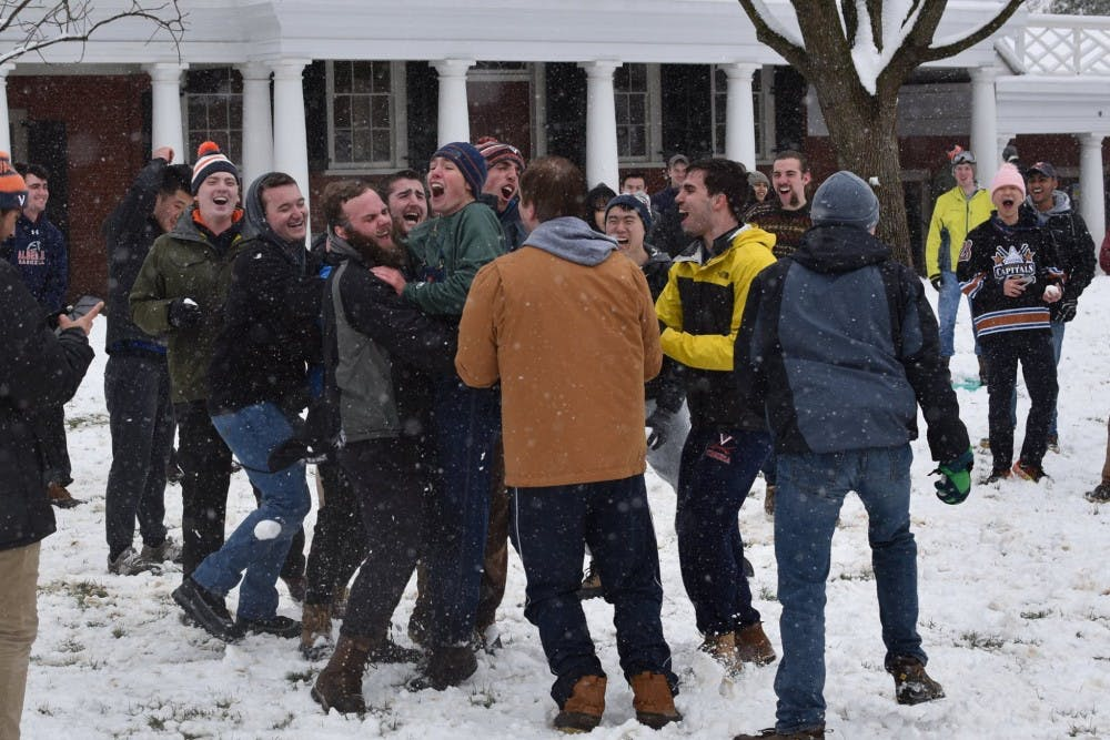 <p>Students enjoyed the snow day on the Lawn.&nbsp;</p>