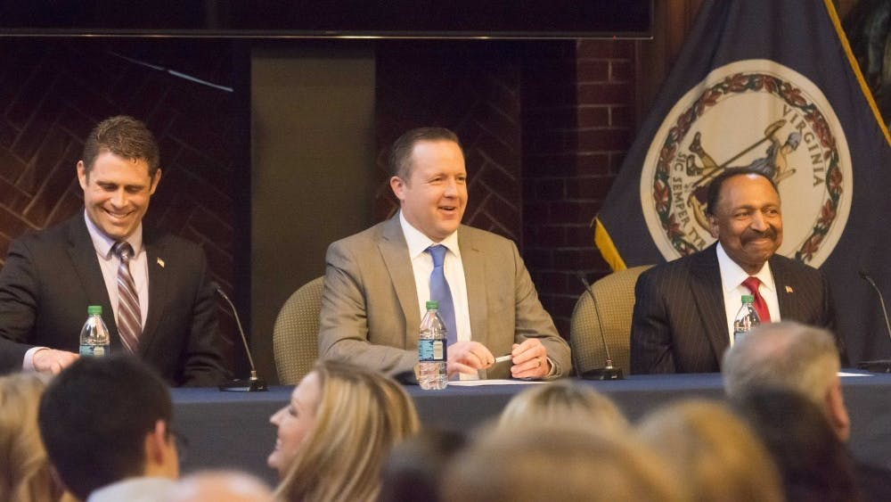 At a debate, Del. Nick Freitas (left), Republican nominee for U.S. Senate Corey Stewart (center) and pastor E.W. Jackson (right).