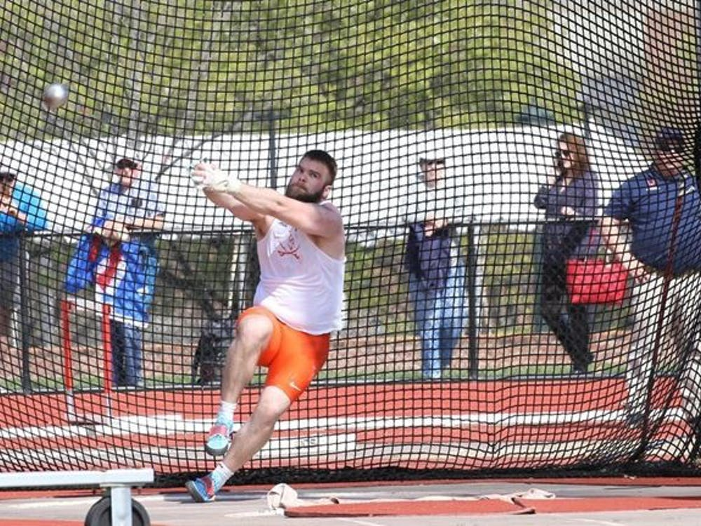 Senior Hilmar Jonsson set the tone early for the Cavaliers and recorded the third-best hammer throw in the country with a mark of 72.21 meter.