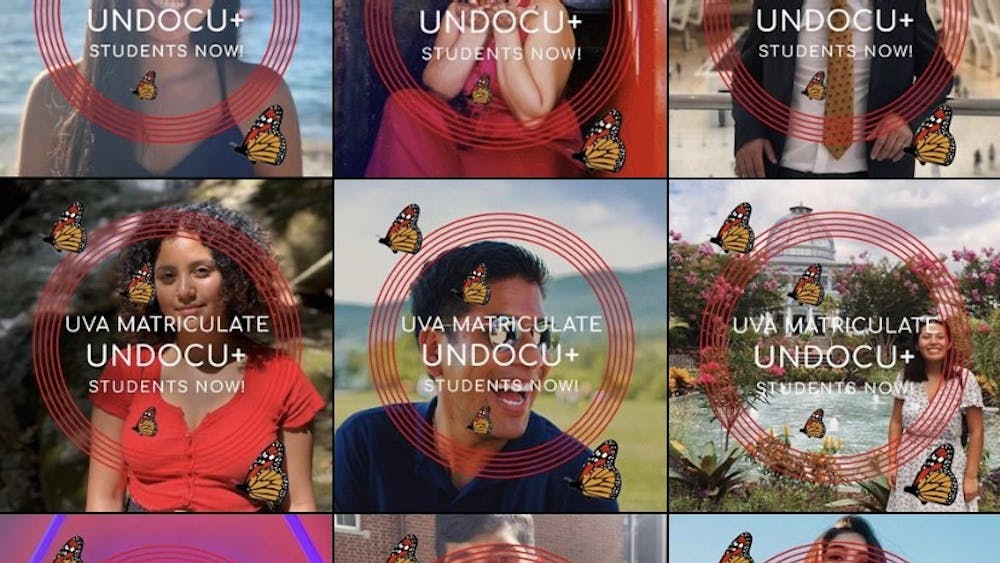 "The Facebook frame features text saying ""UVA Matriculate Undocu+ Students Now!"" surrounded by monarch butterflies, a symbol synonymous with immigrants and migration."