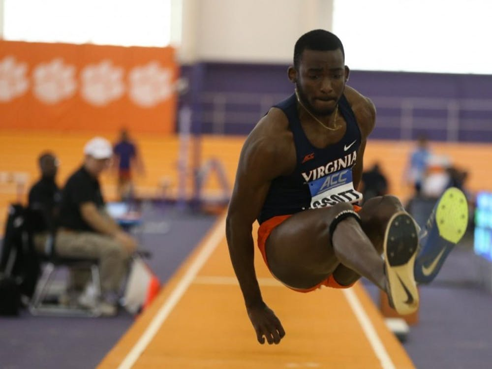 Junior Jordan Scott set a Virginia and ACC record in the triple jump at the Tiger Paw Invite