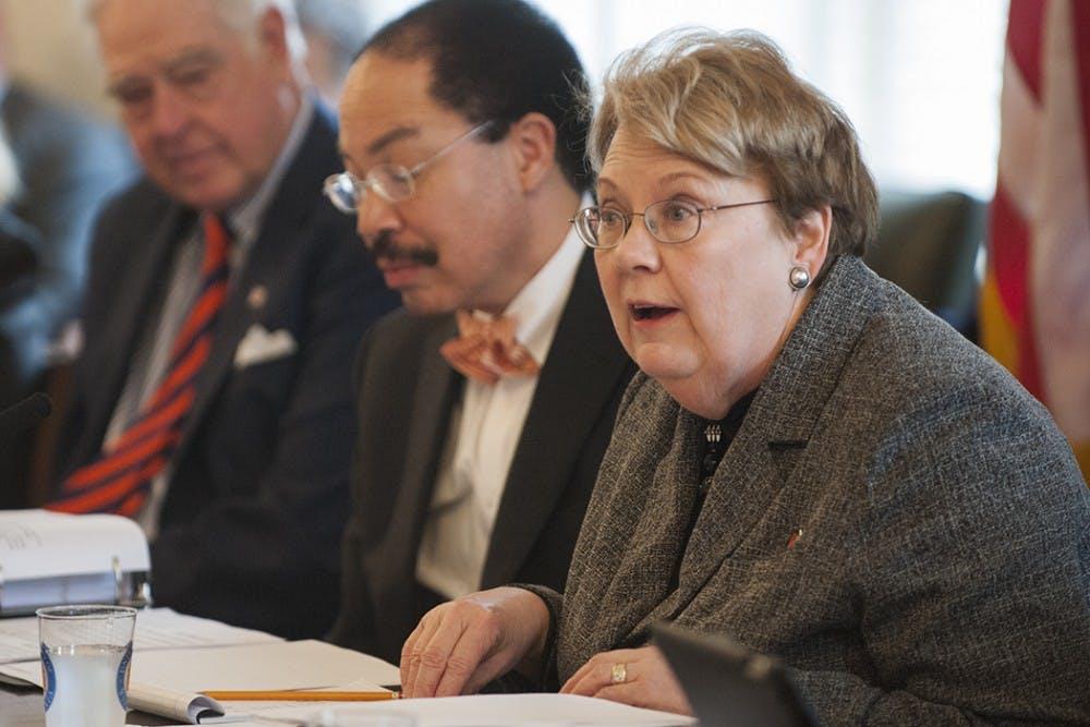 <p>University President Teresa Sullivan speaking at a Board of Visitors meeting.&nbsp;</p>