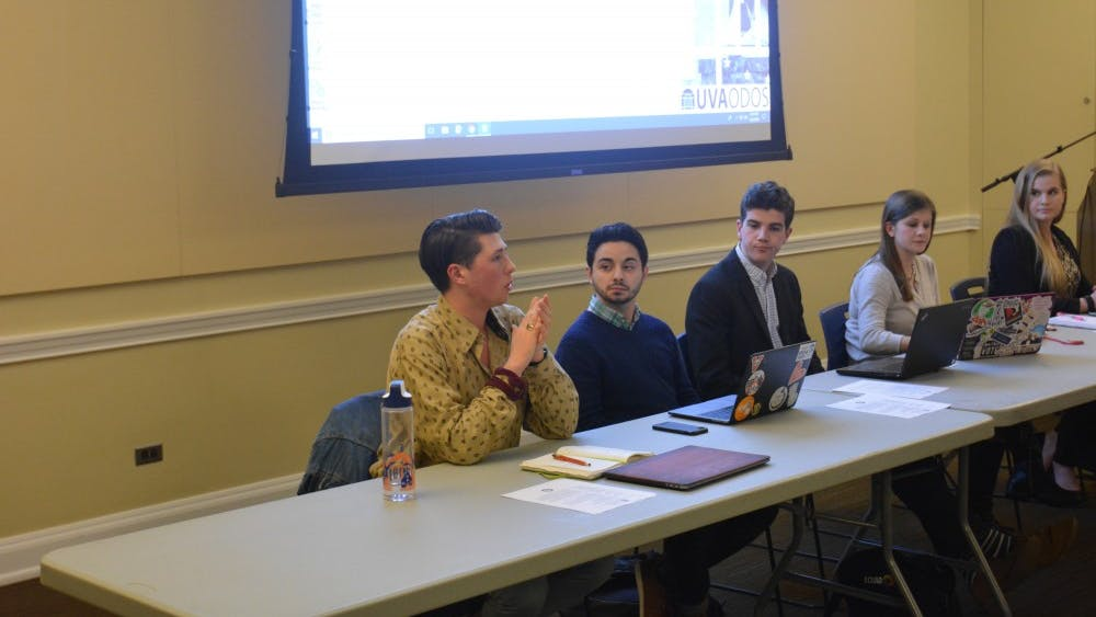 Ty Zirkle, a third-year College student and Student Council Vice President for Organizations, speaks on Young Americans for Freedom's CIO status.